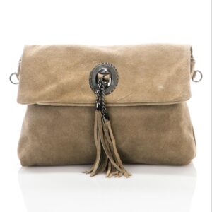 Titiana Genuine Suede Leather Bag TAUPE